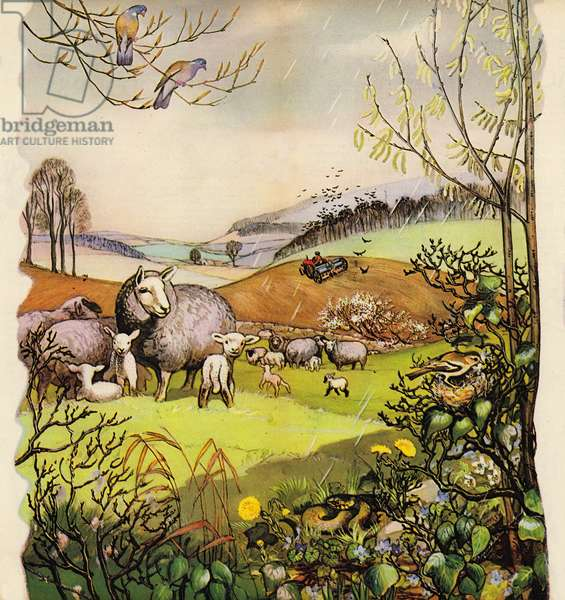 Early spring in the English countryside, England, 1960s (colour litho)