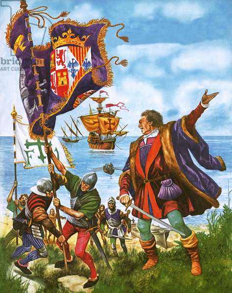 Christopher Columbus planting the Spanish Royal Standard on the newly found land of America
