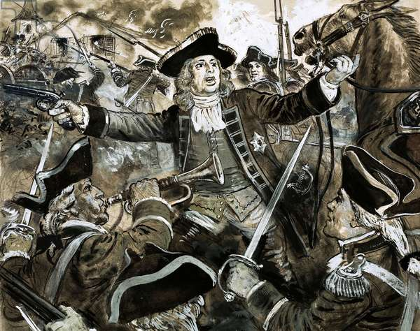 King George the Second on the battlefield at Dettingen (gouache on paper)