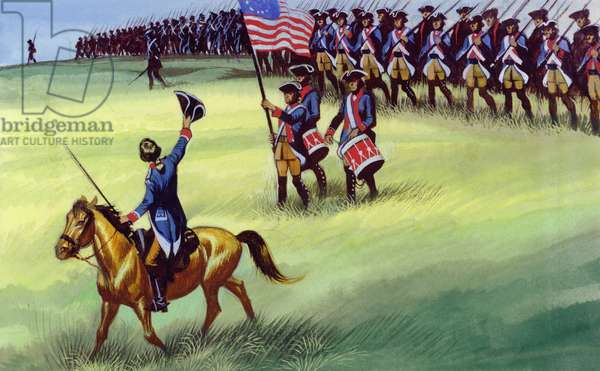 At Saratoga the Colonists won victory (gouache on paper)