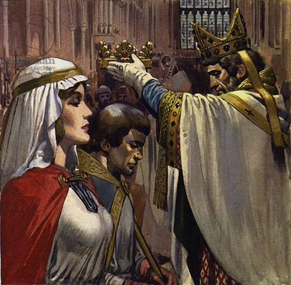 Eleanor subsequently married Henry of Anjou (colour litho)