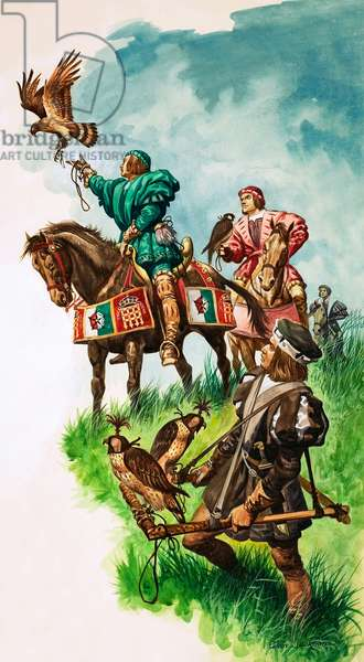 King Henry VII releasing his falcon while hunting (gouache on paper)