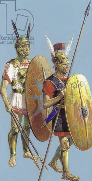 Samnite and Roman soldiers (gouache on paper)