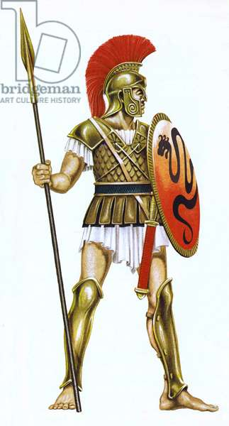 A Greek warrior of about 500BC (colour litho)