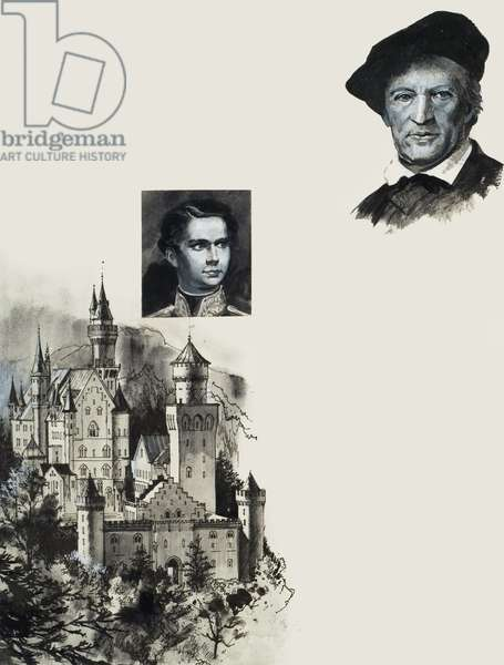Ludwig II of Bavaria and his castle at Neuschwanstein (gouache on paper)
