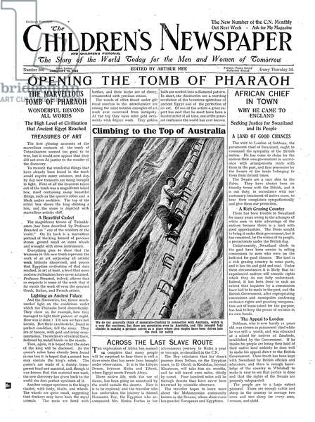 Opening the Tomb of Pharaoh, illustration from 'The Children's Newspaper', 13th January 1923 (newsprint)