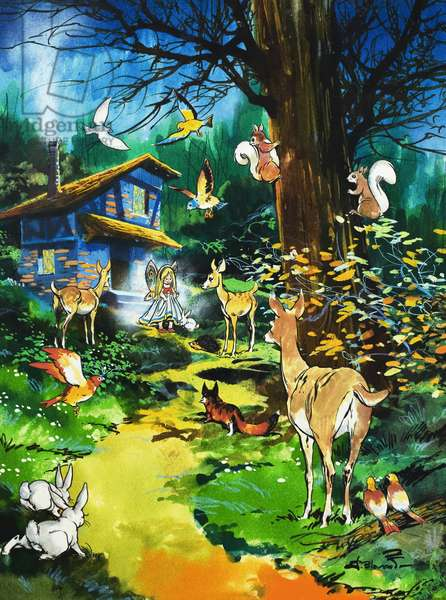 Woodland animals visit a fairy house