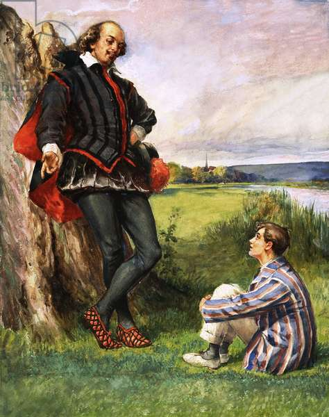 Unidentified scene of William Shakespeare talking to a modern schoolboy