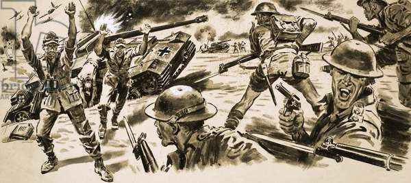 British troops attack the position held by Rommel's Afrika Korps