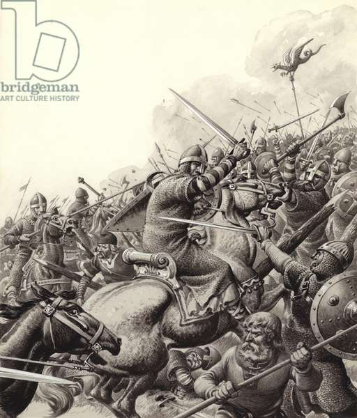 The Battle of Hastings (gouache on paper)