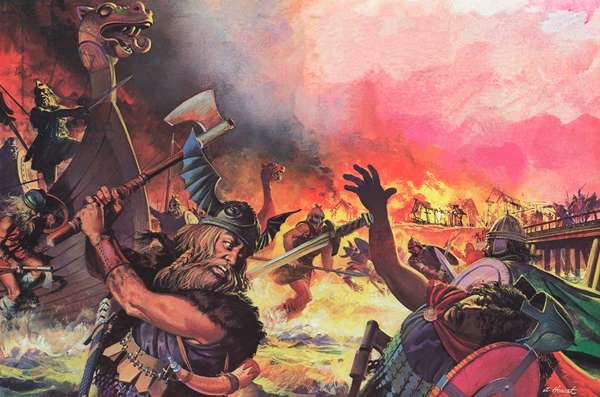 Paris under attack from the Vikings (colour litho)