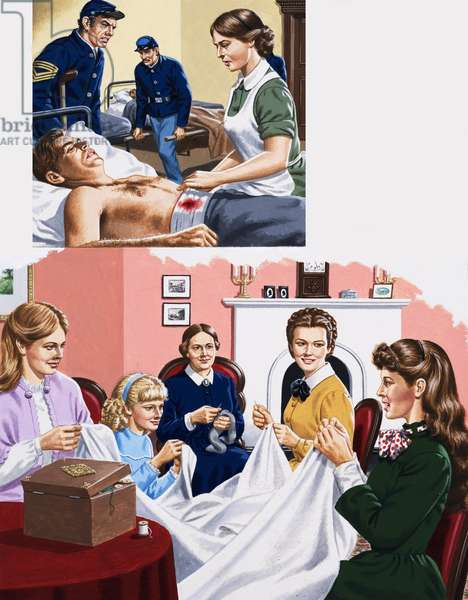 Louisa M. Alcott becomea a nurse during the American Civil War (gouache on paper)