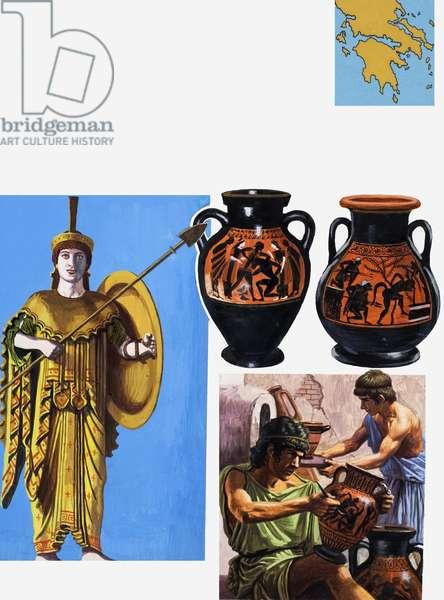 Greek Pottery (gouache on paper)