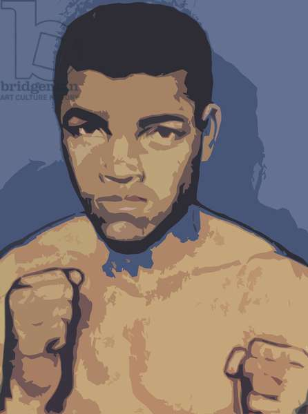 Cassius Clay or Muhammad Ali (colour litho)