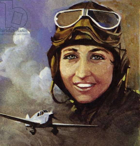 Amy Johnson who flew from Croydon to Capetown (colour litho)