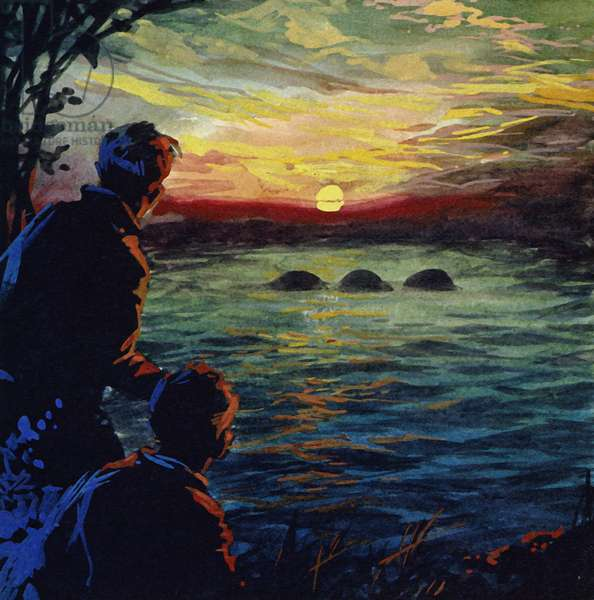 Watches were organised around Loch Ness to see the monster (colour litho)
