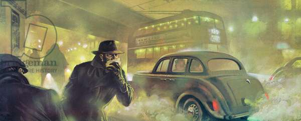 London Smog, 1952 (colour litho)