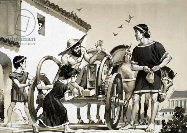Merchant selling items off the back of a chariot in Roman times