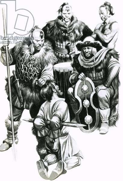 Attila the Hun torturing a captive
