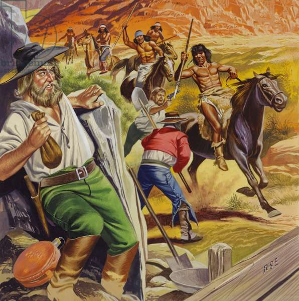 Jacob Waltz and his friend being attacked by Apache Indians (gouache on paper)