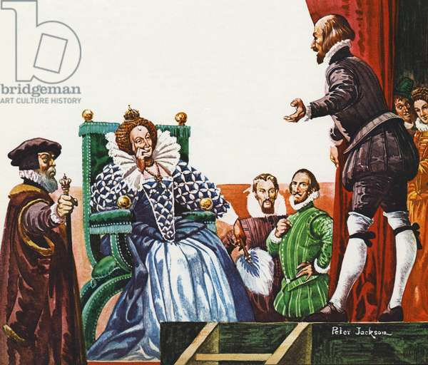 William Shakespeare presenting one of his plays to Queen Elizabeth I (colour litho)