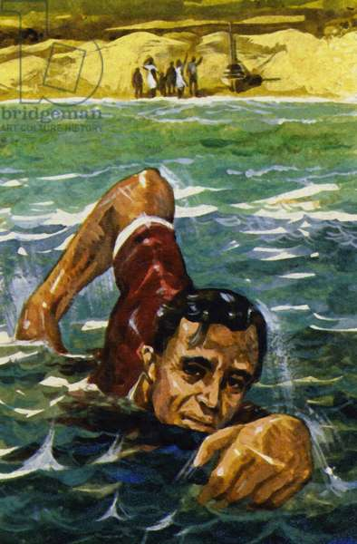 Whenever possible, Roosevelt would swim to help rebuild his strength (colour litho)