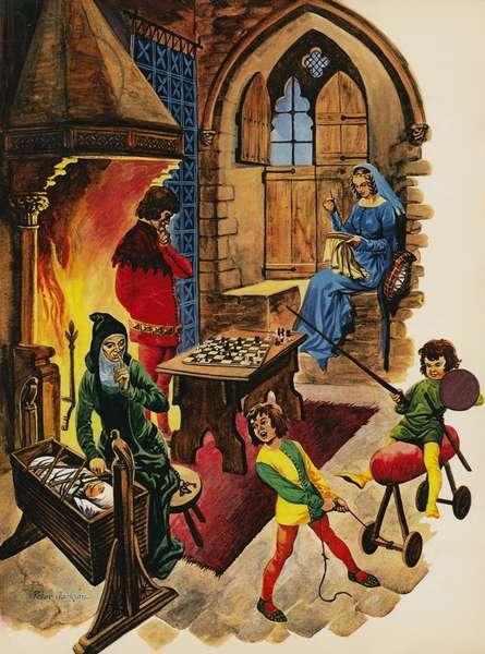Inside the living room of a mediaeval castle (colour litho)