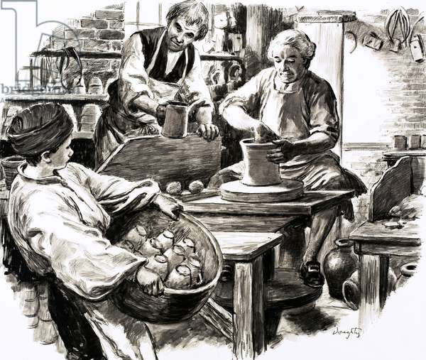 Josiah Wedgwood was apprenticed into the family pottery business (gouache on paper)