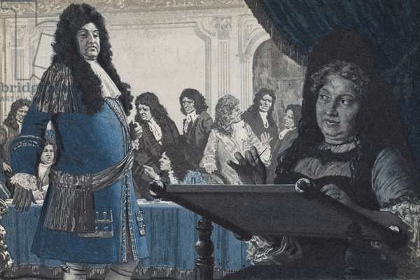 King Louis XIV asking the advice on a political matter from Madame Solidity (litho)