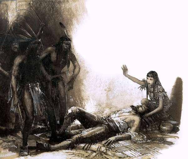 Pocahontas intervening to save the life of Captain Smith (gouache on paper)