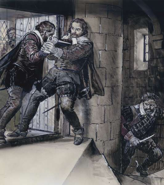 Lord Gowrie drawing a dagger on King James VI of Scotland (gouache on paper)