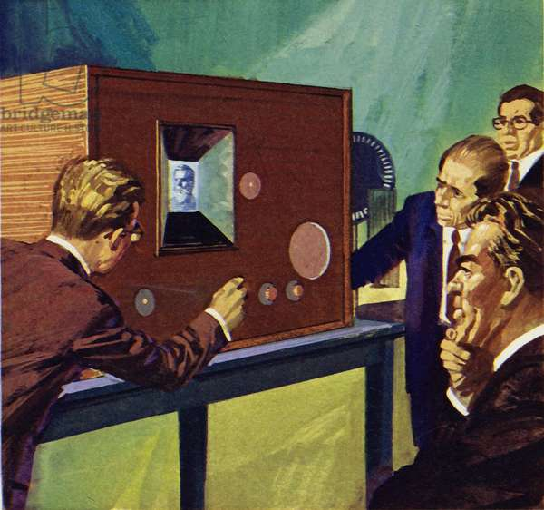 Baird showed that he could transmit static pictures across a room (colour litho)