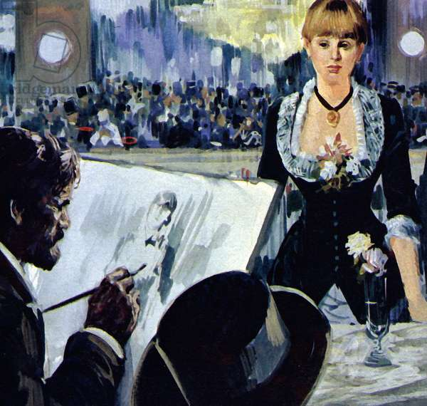 Manet painting the girl behind the bar at the Folies-Bergere (colour litho)