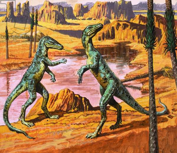 Saltoposuchus, illustration from 'In the Days of the Dinosaurs, Discovery in the Desert,' 1980 (gouache on paper)