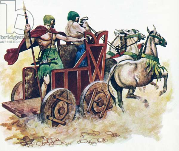 Sumerian chariot (colour litho)