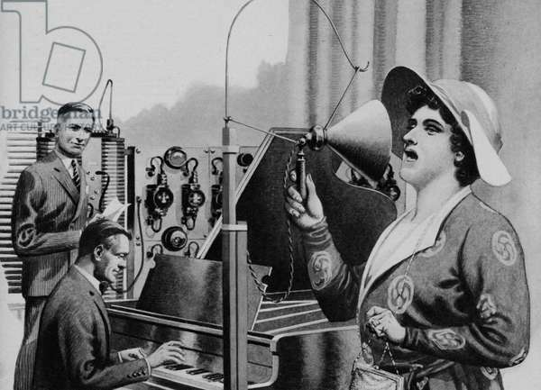 Nellie Melba performing for radio (litho)