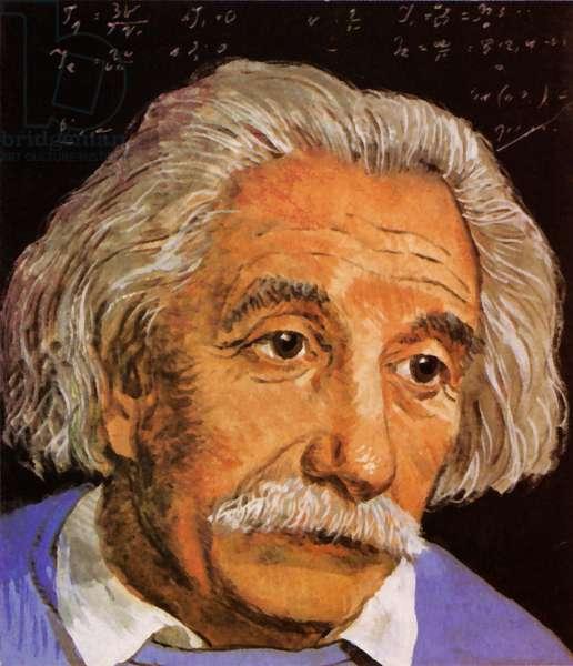 Albert Einstein (colour litho)