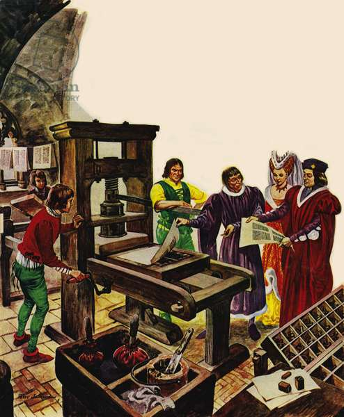 William Caxton showing off his printing press to King Edward IV and his Queen, Elizabeth (colour litho)