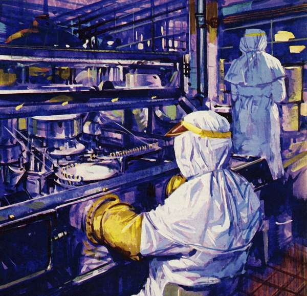 Penicillin was first mass produced in America (colour litho)
