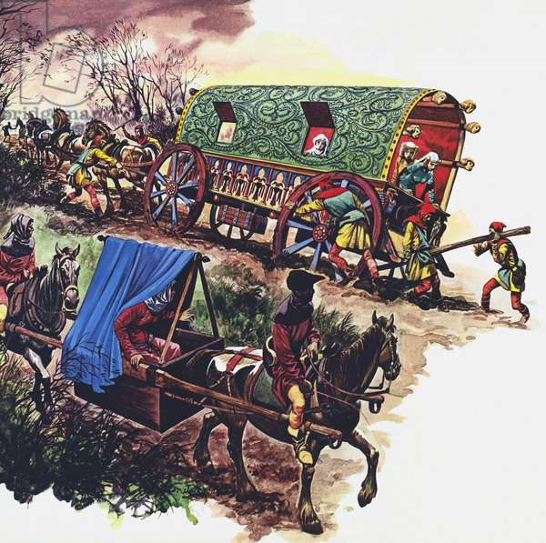 Travel by roads in the Middle Ages (colour litho)