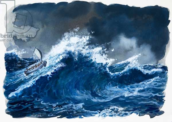 Mutiny on the Bounty (gouache on paper)