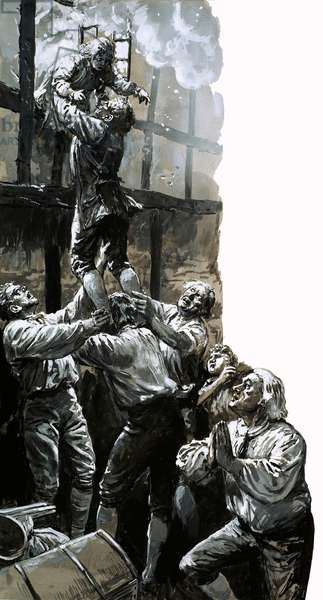 Rescue of the young John Wesley (gouache on paper)