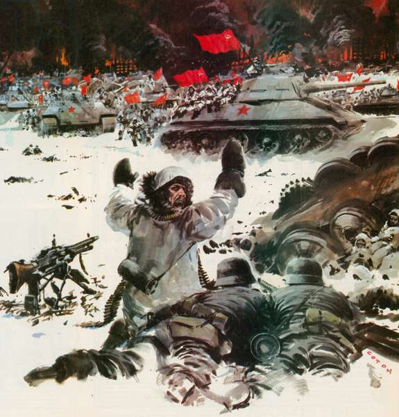 The battle of Stalingrad, WW2 (colour litho)