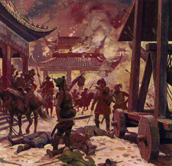 Genghis Khan killed the population of Pekin and razed the city to the ground (colour litho)