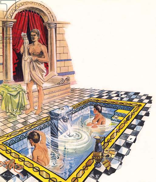 Bathroom of a Roman villa (colour litho)