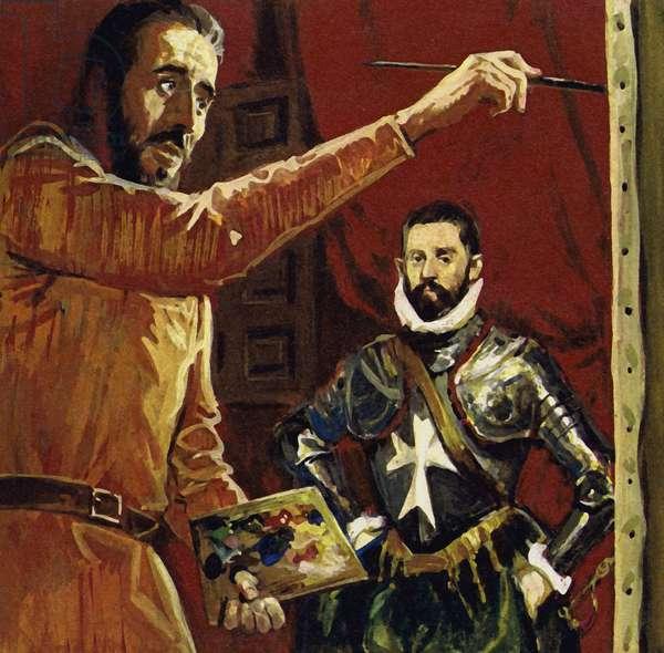 El Greco painting Vincentio Anastagi in Malta (colour litho)