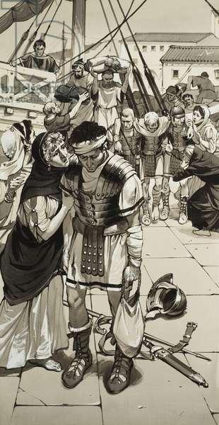 Roman Defeat (gouache on paper)