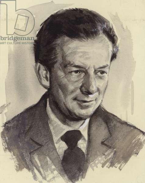 Benjamin Britten (gouache on paper)