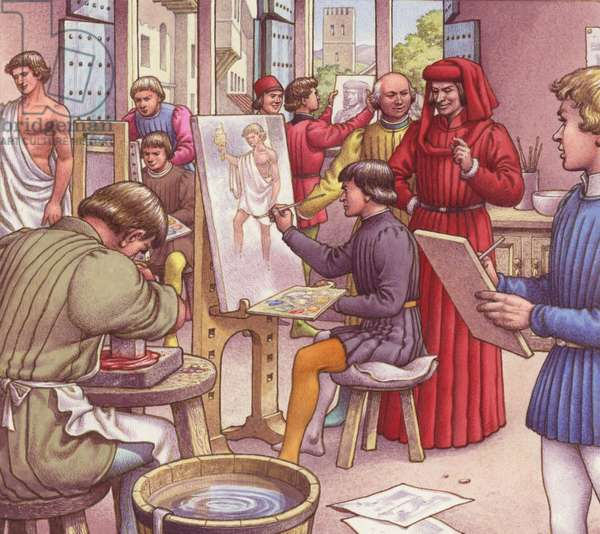 Lorenzo de Medici visits the school for artists (gouache on paper)