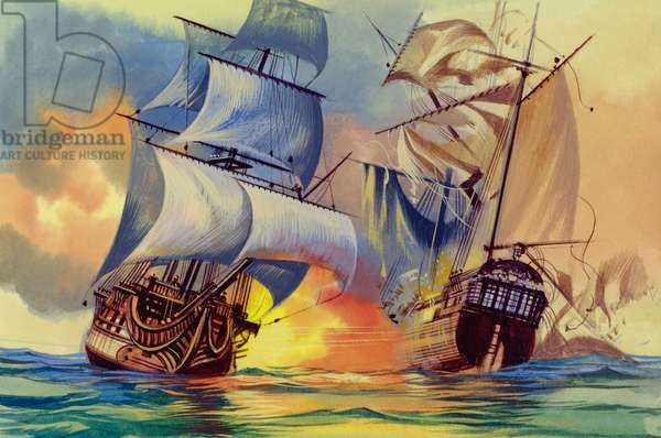 Admiral Hood's fleet was defeated in the West Indies (gouache on paper)